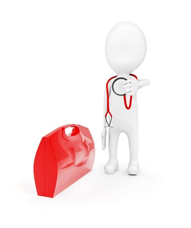 3d man with stethoscope standing near to red briefcase concept on white background - 3d rendering, front angle view