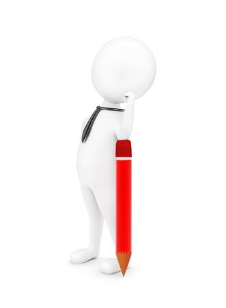 3d man wearing a tie and leaning one of his hand,s over a pencil pointed towards ground concept in white isolated background - 3d rendering , side angle view Banco de Imagens