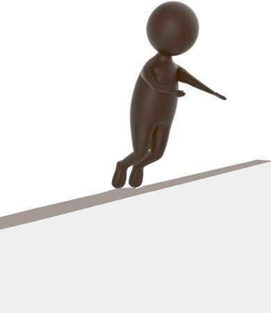 3d brown character sliped and falling down from a narrow wall - 3d rendering