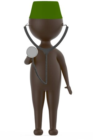 3d brown character wearing a green cap and a stethescope in which the drum part of it is been raised by his hand isolated in white background - 3d rendering