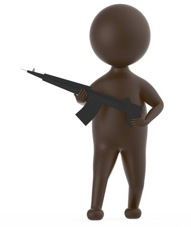 3d brown character holding a gun in his hands -3d rendering