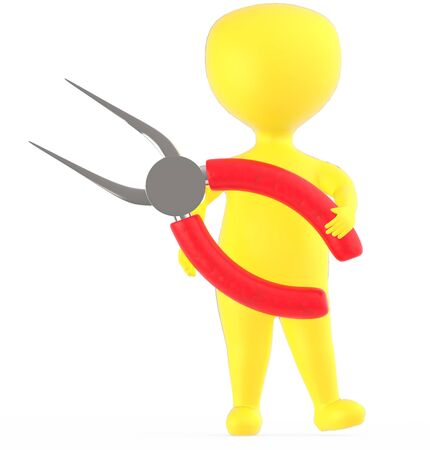 3d yellow character holding a long nosed pliers -3d rendering Banco de Imagens