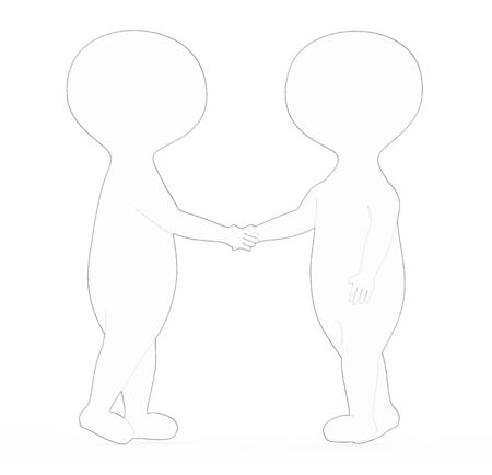 3d white - black outer lined character shake handing each other - 3d rendering