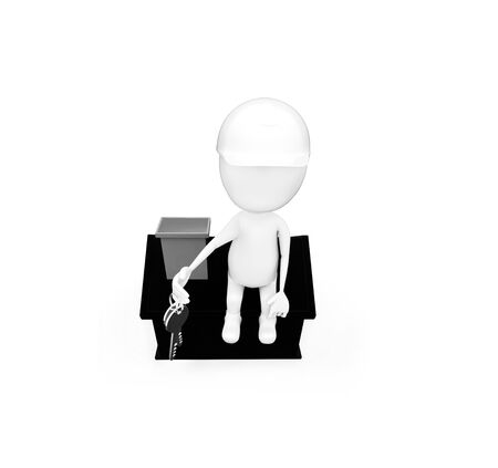 3d man wearing construction helmet and holding keys in hand while sitting on top of a miniature house concept in white isolated background , top angle view
