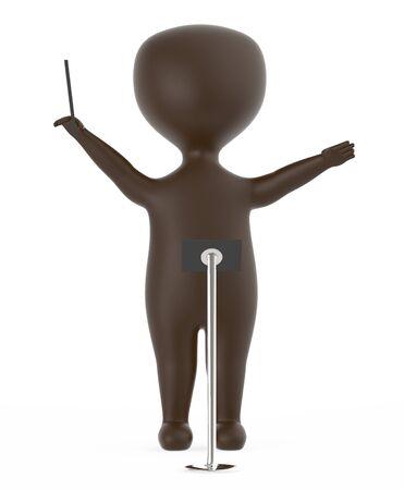 3d brown music conductor character -3d rendering Foto de archivo - 133720798