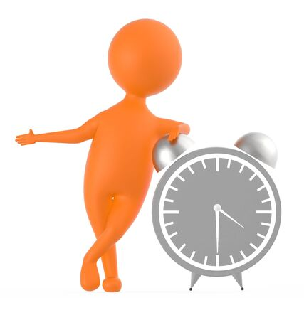 3d orange character standing near to a large size table clock -3d rendering Foto de archivo - 133720686