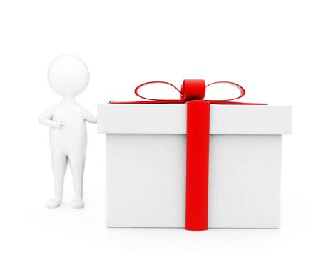 3d man presenting gift box concept in white isolated background , front angle view Foto de archivo - 133720554