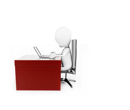 3d man working on laptop on his desk concept in white isolated background , side angle view
