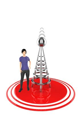 3d character , woman , wireless tower and its signals - 3d rendering 写真素材