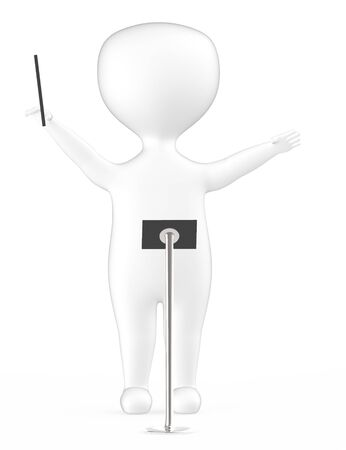 3d white music conductor character -3d rendering