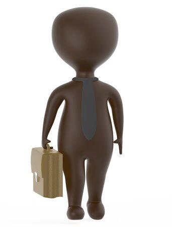 3d brown business character holding a suitcase - 3d rendering Reklamní fotografie