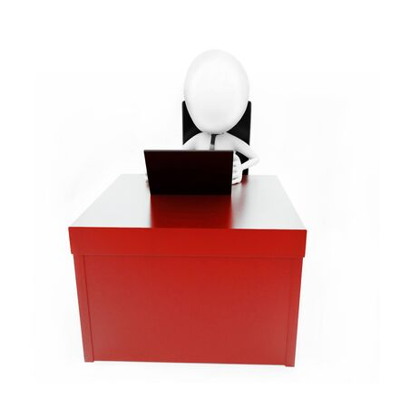 3d man working on laptop on his desk concept in white isolated background , front angle view