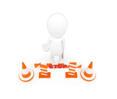 3d man standing near to traffic cones and a barrier and making stop gesture by his hand concept on white background - 3d rendering, top angle view Reklamní fotografie