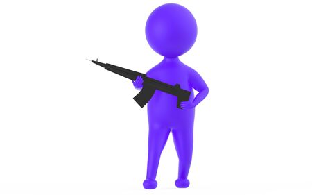 3d purple character holding a gun in his hands -3d rendering Фото со стока