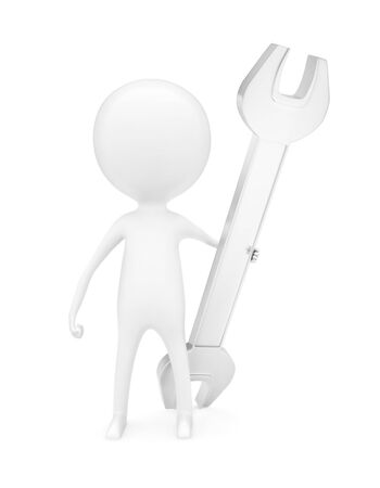 3d man holding wrench in his hand concept in white isolated background - 3d rendering , front angle view