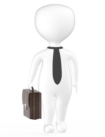 3d white business character holding a suitcase - 3d rendering