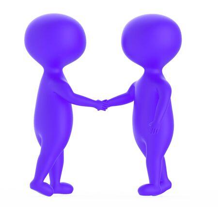 3d purple character shake handing each other - 3d rendering