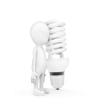 3d man and a CFL bulb on white background - 3d rendering , side angle view Imagens