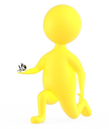 3d yellow character propsing with a ring isolated in white background - 3d rendering Stok Fotoğraf