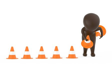 3d brown character clearing or putting traffic cones concept- 3d rendering 스톡 콘텐츠