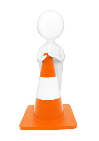 3d man standing beside a traffic cone concept in white isolated background - 3d rendering , front angle view