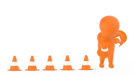 3d orange character clearing or putting traffic cones concept- 3d rendering 스톡 콘텐츠