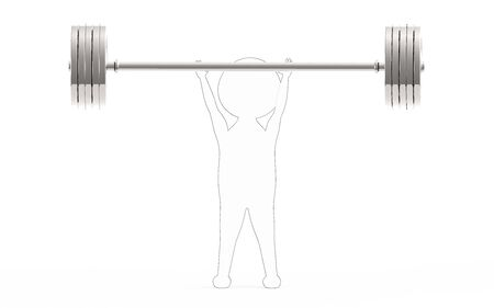 3d white - black outer lined character lifting weights -3d rendering Stock fotó - 133991912