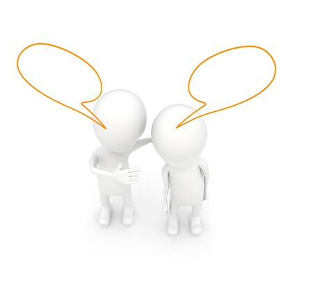 3d characters having converstion with each other and a speech bubbles over head concept on white isolated background - 3d rendering , top angle view