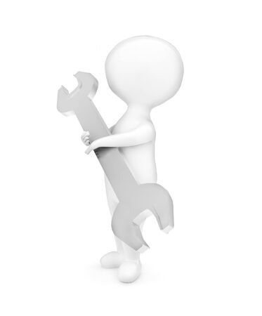 3d man holding a wrench in his hands concept in white isolated background - 3d rendering , side angle view Stock fotó