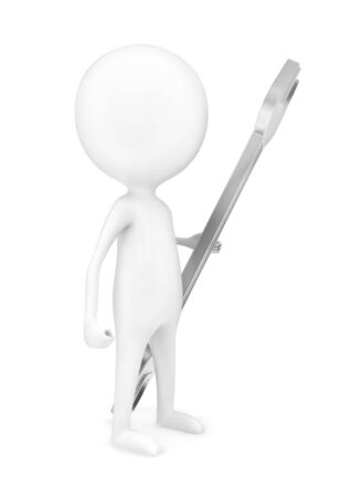 3d man holding wrench in his hand concept in white isolated background - 3d rendering , side angle view