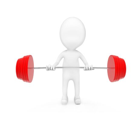 3d man weightlifting on white background - 3d rendering , front angle view