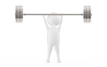 3d white character lifting weights -3d rendering Stock fotó - 133992891