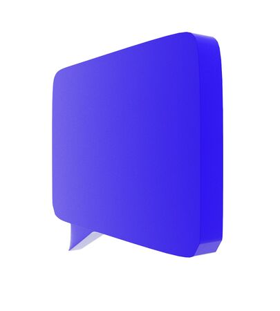 3d curved edged rectangular speech bubble concept in white isolated background - 3d rendering , side angle view Reklamní fotografie