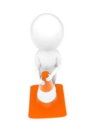3d man standing beside a traffic cone concept in white isolated background - 3d rendering , top angle view
