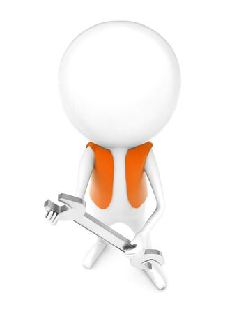 3d man wearing a orange color cloth and holding a wrench in his hands concept in white isolated background - 3d rendering , top angle view