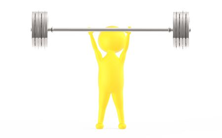 3d yellow character lifting weights -3d rendering Stock fotó - 133993652