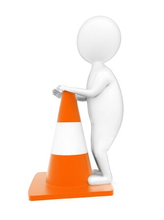 3d man standing beside a traffic cone concept in white isolated background - 3d rendering , side angle view