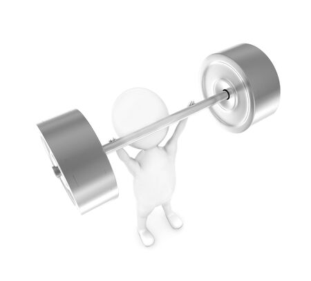 3d man weightlifting in white isolated background - 3d rendering , top angle view