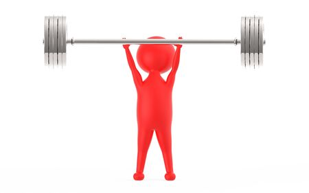 3d red character lifting weights -3d rendering