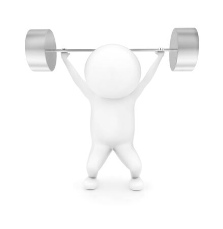 3d man weightlifting in white isolated background - 3d rendering , front angle view Stock fotó - 134044137