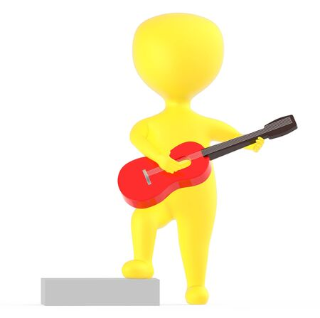 3d yellow character playing a guitar - 3d rendering
