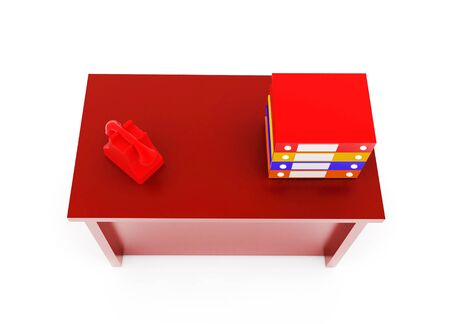 3d table with stacked files and a telephone on it concept in white isolated background - 3d rendering , top angle view Stock fotó