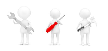 3d different characters holding wrench , screwdriver and hammer in hands concept in white isolated background - 3d rendering , front angle view