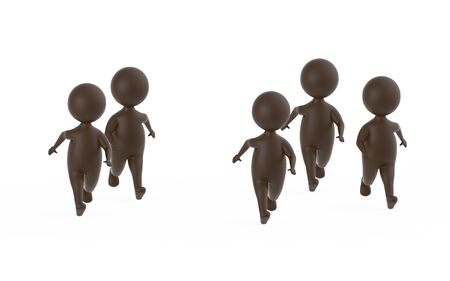3d brown characters runners - 3d rendering 스톡 콘텐츠