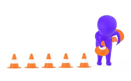 3d purple character clearing or putting traffic cones concept- 3d rendering