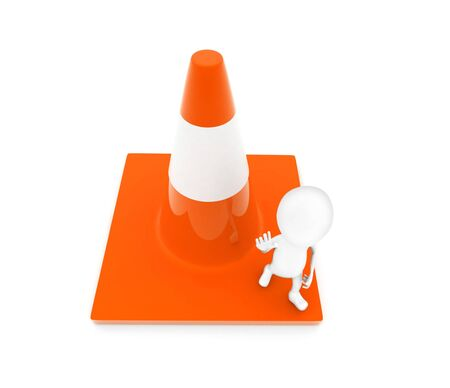 3d man showing stop gesture by his hand while standing on a large traffic cone concept in white isolated background - 3d rendering , top angle view