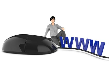 3d character , woman sitting next to www text and mouse - 3d rendering 版權商用圖片
