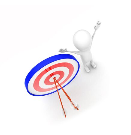 3d man with perfectly aimed arrows on target board concept  - 3d rendering , top angle view Reklamní fotografie