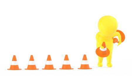 3d yellow character clearing or putting traffic cones concept- 3d rendering