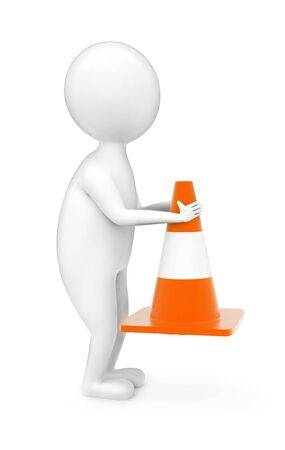 3d man holding traffic cone concept in white isolated background - 3d rendering ,  side angle view